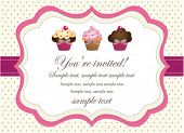 Cupcake retro invitation