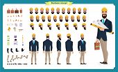 Male Architect In Business Suit And Protective Helmet. Character Creation Set. Full Length, Differen poster