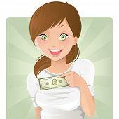 Постер, плакат: Девушка с деньгами