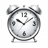 stock photo of analog clock  - Metal alarm clock - JPG