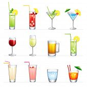 image of cold drink  - Set of vector illustration of different drinks and cocktails - JPG
