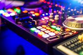 Bright Audio Control Panel With Adjusted Slide Bar For Dj In Night Club. Dj Professional Sound Mixer poster