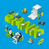 Vector Isometric Money Flow In Bank Icons Infographic Concept Illustration. Finance Money Bank, Bank poster