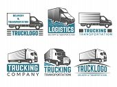 Truck Logo. Business Symbols Emblems Of Transportation Or Logistics Company With Illustrations Of Va poster
