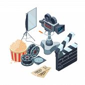 Production Of Video. Vector Isometric Concept Of Video And Photo Production. Illustration Video Came poster