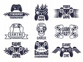 Gaming Logo Set. Video Games And Cyber Sport Labels. Gamer Emblem Logo, Sport Cyber, Video Gaming, V poster