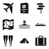 River Recreation Icons Set. Simple Set Of 9 River Recreation Icons For Web Isolated On White Backgro poster