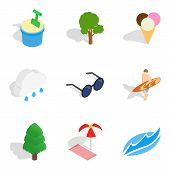 Leisure Activity Icons Set. Isometric Set Of 9 Leisure Activity Icons For Web Isolated On White Back poster