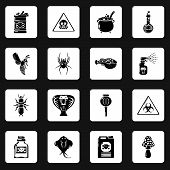 Poison Danger Toxic Icons Set. Simple Illustration Of 16 Poison Danger Toxic Icons For Web poster