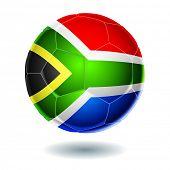 Постер, плакат: Футбольный мяч с флагом Южной Африки