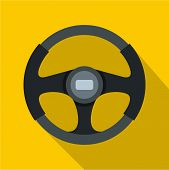 Sports Car Steering Wheel Icon. Flat Illustration Of Steering Wheel Icon For Web Isolated On Yellow  poster