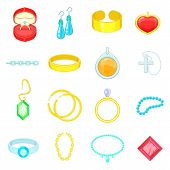 Jewelry Items Icons Set. Cartoon Illustration Of 16 Jewelry Items Icons For Web poster