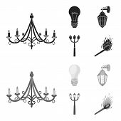 Led Light, Street Lamp, Match.light Source Set Collection Icons In Black, Monochrome Style Vector Sy poster