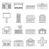 City Infrastructure Items Icons Set. Outline Illustration Of 16 City Infrastructure Items Icons For  poster