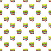 Stack Of Colored Towels Pattern. Cartoon Illustration Of Stack Of Colored Towels Pattern For Web poster