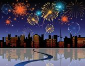 stock photo of firework display  - fireworks in the city - JPG