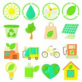 Ecology Items Icons Set. Cartoon Illustration Of 16 Ecology Items Icons For Web poster