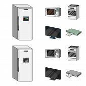 Home Appliances And Equipment Cartoon, Monochrome Icons In Set Collection For Design.modern Househol poster