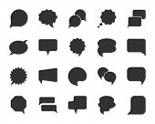 Speech Bubble Icon Set. Web Sign Kit Of Comic Tell. Communication Chat Icons Of Contact Support Medi poster