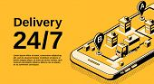 Delivery Service 24 7 Vector Illustration Of Logistics Shipping Tracking Technology. Order Parcel An poster