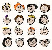 Постер, плакат: Мультфильм лица людей значки