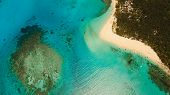 Aerial View Of Beautiful Tropical Island Daco With White Sand Beach. View Of A Nice Tropical Beach F poster