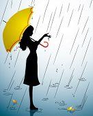 Постер, плакат: Силуэт молодая девушка с желтый зонтик