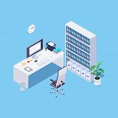 Isometric Concept Of Office Interior On Blue Background. Desktop For Hr-manager, Accountant, Ceo. 3d poster