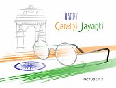 October 2. Happy Gandhi Jayanti. Abstract Colors Of The Indian Flag With Ashoka Chakra, Eyeglasses A poster
