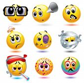 stock photo of welts  - Smiley balls with different diseases - JPG