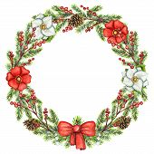 Round Christmas Wreath With Berries, Flowers, Cones, Bow And Spruce Branches Isolated On White Backg poster