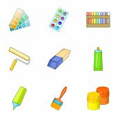 Art Instruments For Painting Icons Set. Cartoon Illustration Of 9 Art Instruments For Painting Icons poster