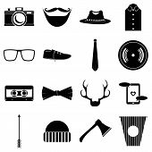 Hipster Items Icons Set. Simple Illustration Of 16 Hipster Items Icons For Web poster