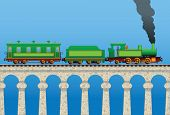 picture of railcar  - Vector illustration of a locomotive with a railcar - JPG