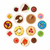 Dessert Top View Detailed Icons Set. Cartoon Illustration Of 16 Dessert Top View Detailed Icons For  poster