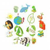 Ecology Icons Set. Isometric Illustration Of 16 Ecology Icons For Web poster