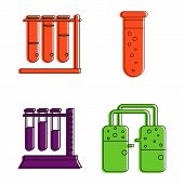 Chemical Tube Icon Set. Color Outline Set Of Chemical Tube Icons For Web Design Isolated On White Ba poster