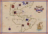 stock photo of conquistadors  - Old map - JPG
