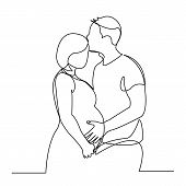 Continuous Single Drawn One Line Of Enamored Conjugal Pregnant Couple Drawn By Hand Picture Silhouet poster