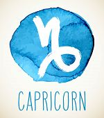 Capricorn Hand Drawn Zodiac Sign Illustration Over Light Blue Watercolor Circle. Vector Graphic Astr poster