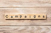 Campaign Word Written On Wood Block. Campaign Text On Table, Concept. poster