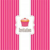 stock photo of chocolate muffin  - cupcake invitation background 01 - JPG