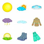 Climate Adaptation Icons Set. Cartoon Set Of 9 Climate Adaptation Icons For Web Isolated On White Ba poster