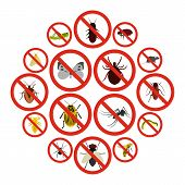 Flat No Insect Sign Icons Set. Universal No Insect Sign Icons To Use For Web And Mobile Ui, Set Of B poster