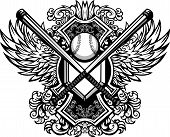 foto of fastpitch  - Baseball Bats Baseball and Home Plate with Ornate Wing Borders Vector Graphic - JPG