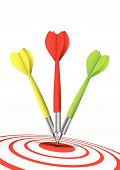 colorful darts hitting a target