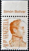 A stamp printed in the Venezuela shows a national hero Simon Bolivar