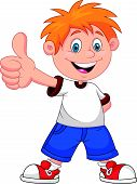 stock photo of appreciation  - Vector illustration of Cartoon boy giving you thumbs up - JPG
