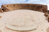 Ancient Roman amphitheater in Caesarea in Israel