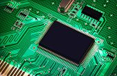 foto of microprocessor  - macro photo of electronic circuit - JPG